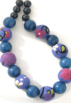 Porcelain Bead Needle Felted Textile Necklace