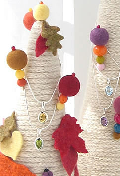Autumn Leaves French Knitted Jewellery Cone